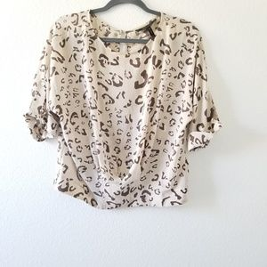 BCBGMaxAzria Cheetah Print Blouse 1/2 Sleeve Light